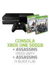 CONSOLA-XBOX-ONE-500GB-+-ASSASSIN-S-CREED-UNITY-&-IV-BLACK-FLAG